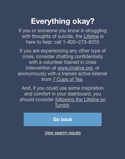 Tumblr Search Warning